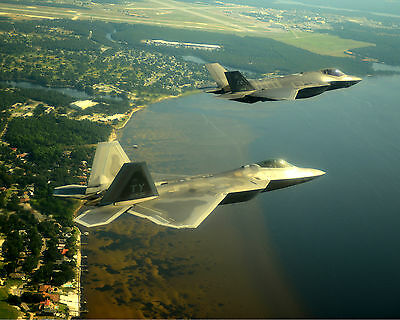 An F-35A Lightning and a F-22a Raptor Fly Together - Super 8x10 Photo Print