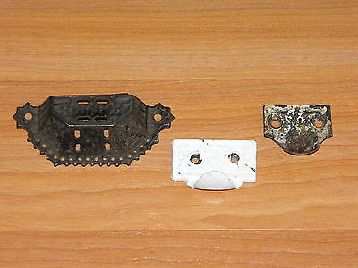 3 Old Antique Cast Iron Decorative Desk Dresser Drawer Pull Handle Hardware Lot
