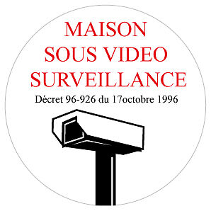 autocollant vid o surveillance x 5 maison cam ra protection alarme somfy. Black Bedroom Furniture Sets. Home Design Ideas
