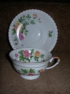 Franconia Krauthein Rose Garden Footed Cup and Saucer/s Bavaria