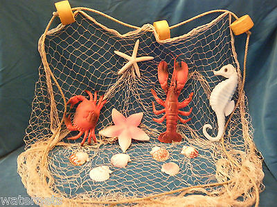10 ' x 8 ' Decorative Nautical Fish Netting CRAB LOBSTER SEAHORSE  STARFISH