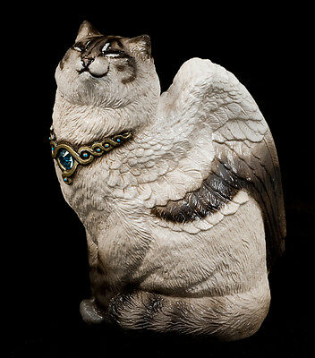 "WINDSTONE ""LYNX POINT SIAMESE"" SMALL BIRD WINGED FLAP CAT FIGURINE, STATUE"