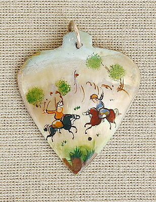 """Persian Vintage Hand Painted Miniature """"Game Polo"""" Mother of Pearl Heart Pendant"""