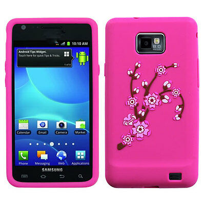 For Samsung Galaxy S II 2 S959G Rubber SILICONE Skin Case Cover Pink Spri Flower