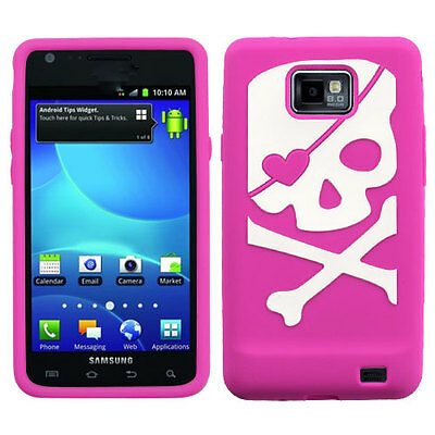 For Samsung Galaxy S II 2 S959G Rubber SILICONE Skin Case Cover Pink White Skull