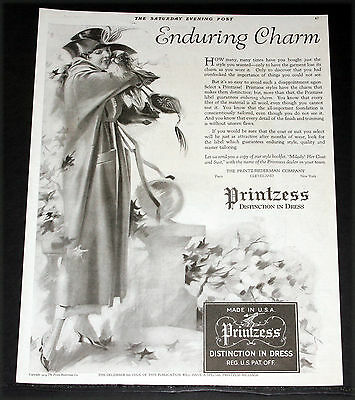 1919 Old Magazine Print Ad, Printzess Distinction In Dress & Charm, Fashion Art!