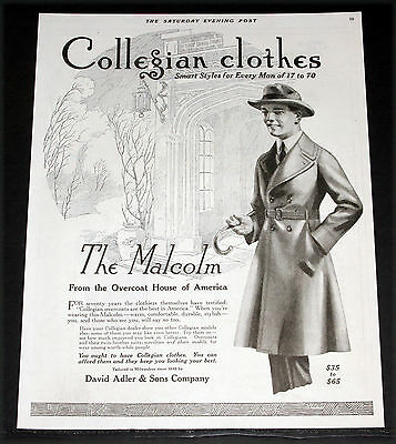 1919 Old Magazine Print Ad, Collegian Clothes, Smart Styles For Men Fashion Art!