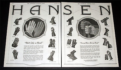 "1919 Old Magazine Print Ad, Hansen Gloves ""built Like A Hand"" Every Style, Art!"