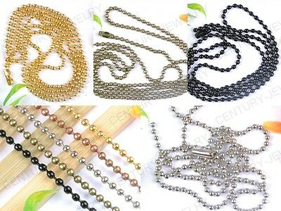 wholesale 24Inch Ball Chain Necklace 2.4mm bead connector u pick 5 Color