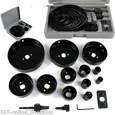 16 HOLE SAW KIT METAL CIRCLE CUTTER ROUND DRILL WOOD  ALLOY DOWNLIGHTS 19-127mm