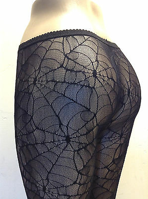 Be Wicked! 515 Tights Spider Web Pantyhose Lycra Lace Goth Reg or XL Queen Black