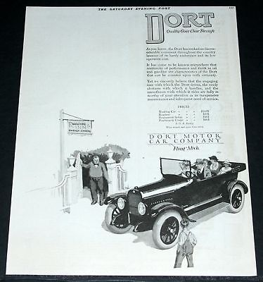 1920 Old Magazine Print Ad, Dort Touring Car, Quality Through, Roadside Inn Art!
