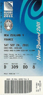 NEW ZEALAND v FRANCE 2011 RUGBY WORLD CUP TICKET POOL A MATCH no25