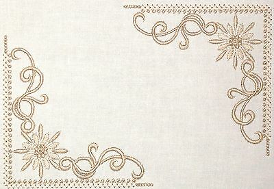 Beige Scroll Embroidered Quilt Label Customize for quilt tops or blocks