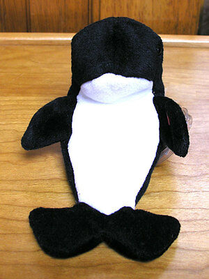 ty Original Beanie Babies Waves Orca Killer Whale mint with tags 1996