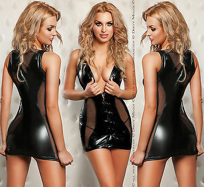 Minikleid Wetlook Kleid Party GOGO Clubwear Größe S-M 36-38