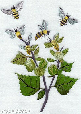 BEES IN THE GARDEN FLOWERS SET OF 2 BATH HAND TOWELS EMBROIDERED BY LAURA