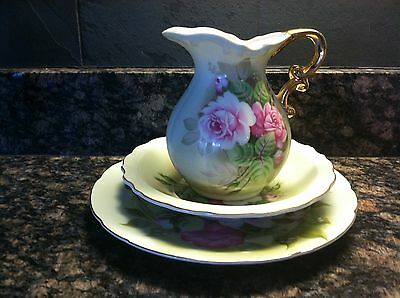 Lefton China Hand Painted Pitcher and Bowl with Luncheon Plate