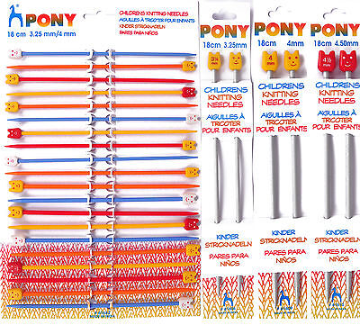 Pony Childrens Beginner Project Aluminium Knitting Pins / Needles 18cm Long