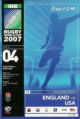 ENGLAND v USA RUGBY WORLD CUP 2007 PROGRAMME - MINT CONDITION