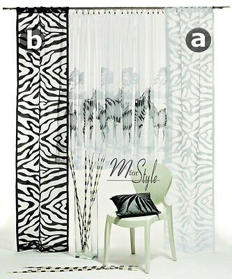 Quality Net Window Panel Blind Curtain ZEBRA design White OR Black SINGLE