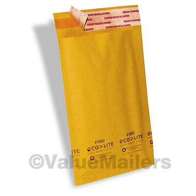 "100 #000 4X8 "" Ecolite "" Kraft Bubble Mailers Padded Envelopes Self Seal Bags"