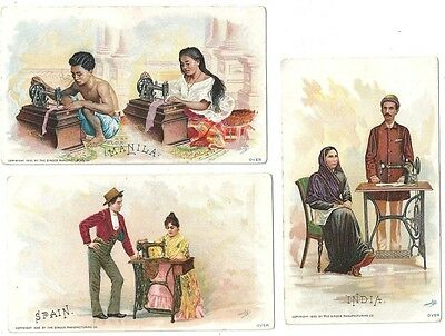 Singer Manufacturing Co Trade Cards ~ Costumes of Nations 1892  15 diff Cards