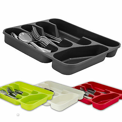 5 Compartment Cutlery Tray Organiser Tidy Holder Storage Insert Drawer Plastic