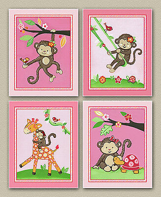 Little Miss Monkey Nursery/Baby Wall Art/decor/prints Pink, Jungle animal, cute