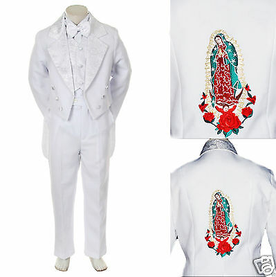 Kid Child Teens Boy Baptism First Communion Church Formal Tuxedo Suit White 5-20