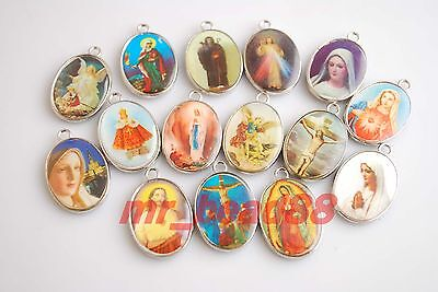 10Pcs Catholic Religious Crosses Cross Medals Charms Pendants Crucifixes 30x20mm