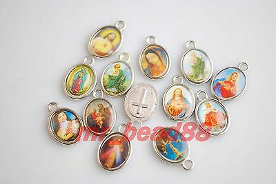 50Pcs Catholic Religious Crosses Cross Medals Charms Crucifixes Findings 15x10mm