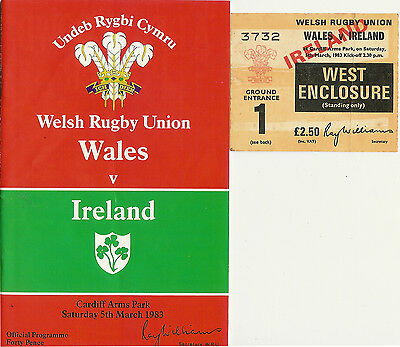 WALES v IRELAND 1983 RUGBY PROGRAMME & TICKET