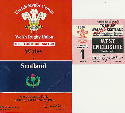 WALES v SCOTLAND 1986 RUGBY PROGRAMME & TICKET