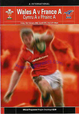 WALES A v FRANCE A 15 Feb 2002 RUGBY PROGRAMME at Cardiff
