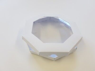 """5 x New 8"""" x 8"""" Octagon Aperture Greeting Card Box with Card Blanks & Acetate"""