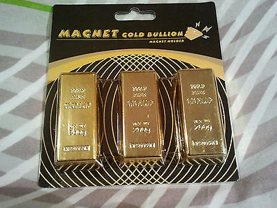 LOT de 3 MAGNETS  / GOLD BULLION / LINGO OR / aimanté FRIGO / NEUF