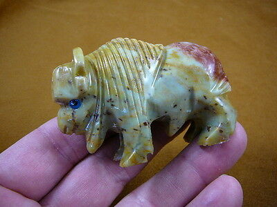 (Y-BUF-401) tan gray BUFFALO bison carving gem stone gemstone SOAPSTONE PERU