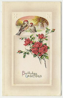 ANTIQUE BIRTHDAY GREETINGS POSTCARD RED WHITE BROWN COLORED BIRDS RED ROSES BUDS