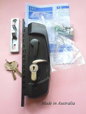 Sliding security screen door lock AUSTRAL SD7 * WITH Cylinder * Black *