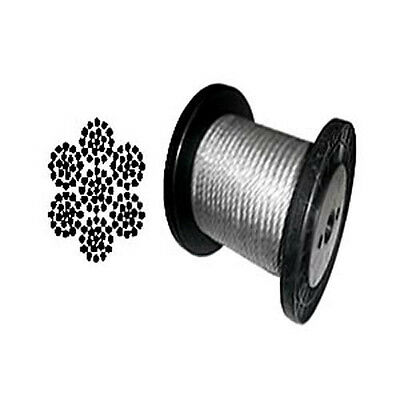 """7 x 19 Galvanized Aircraft Cable Wire Rope 3/16"""" - 200 ft"""