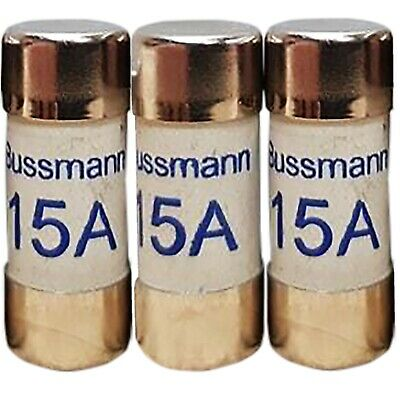3x 15 amp consumer unit fuses cartridge fuse 15A BS1361 storage heater 25 x 9mm