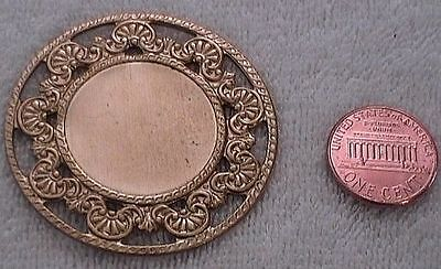VINTAGE BRASS - 45mm Fancy Flowered Edge Round Stamping - 2 Pieces