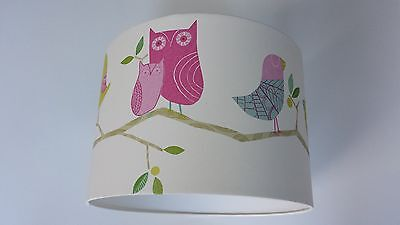 Lampshade made from Harlequin what a hoot wallpaper PINK/LIME (KIDS).