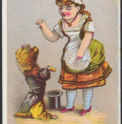 1880's Dog Begging Hat Trick Ehrichs Holiday Store New York Victorian Trade Card