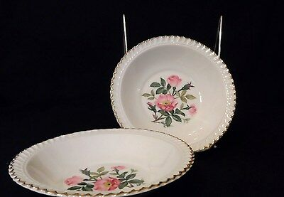 Set of 2 Rimmed Fruit / Sauce Bowls in Harker Wild Rose pattern - very pretty!