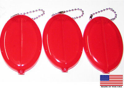 3x Ruby Red Coin Purse with Ball Chain Money Change Oval Durable Vintage purses