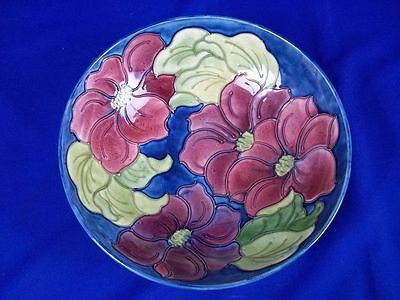 "Large 10.5"" Vintage Moorcroft Pedestal Bowl Clematis Pattern Royal Warrant Label"
