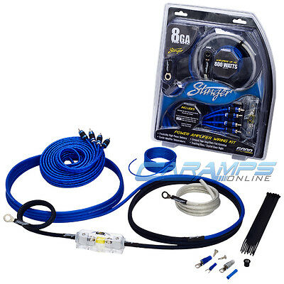 ★ NEW STINGER 800 WATTS 8 AWG GAUGE CAR AMP INSTALL WIRING KIT WITH RCA CABLES ★