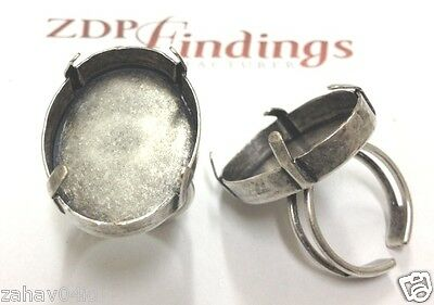 2P x  30x22mm Oval Antique Silver Adjustable Ring Bezel Cup fit Swa 4547